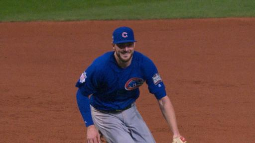 Kris Bryant smiles during final out